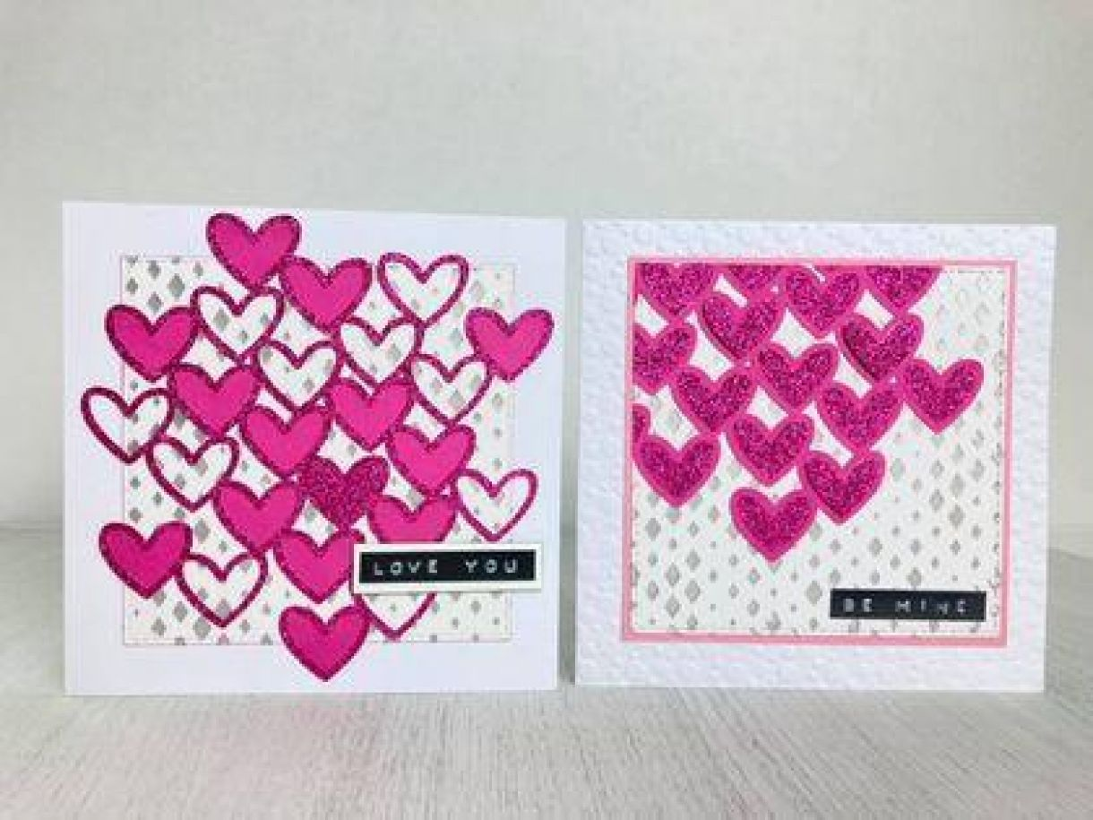 Hearts With Glitter Card