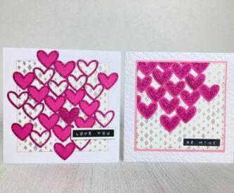 Two heart cards made with the same elements
