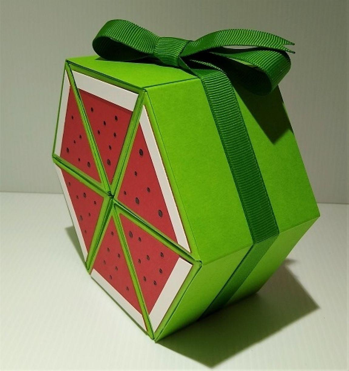 Hexagonal Roll Up Watermelon Gift Box 2