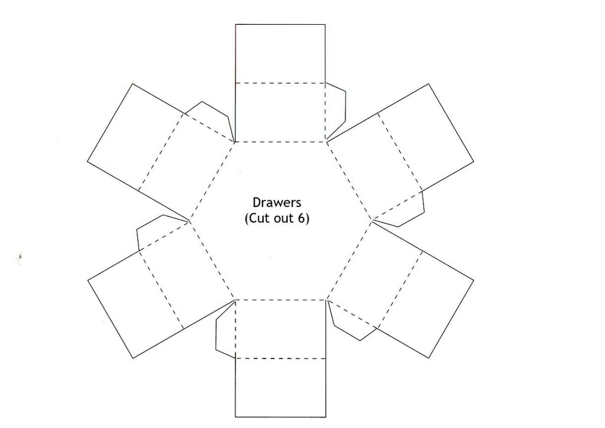 Hexagonal Stacked Gift Box Drawers Template