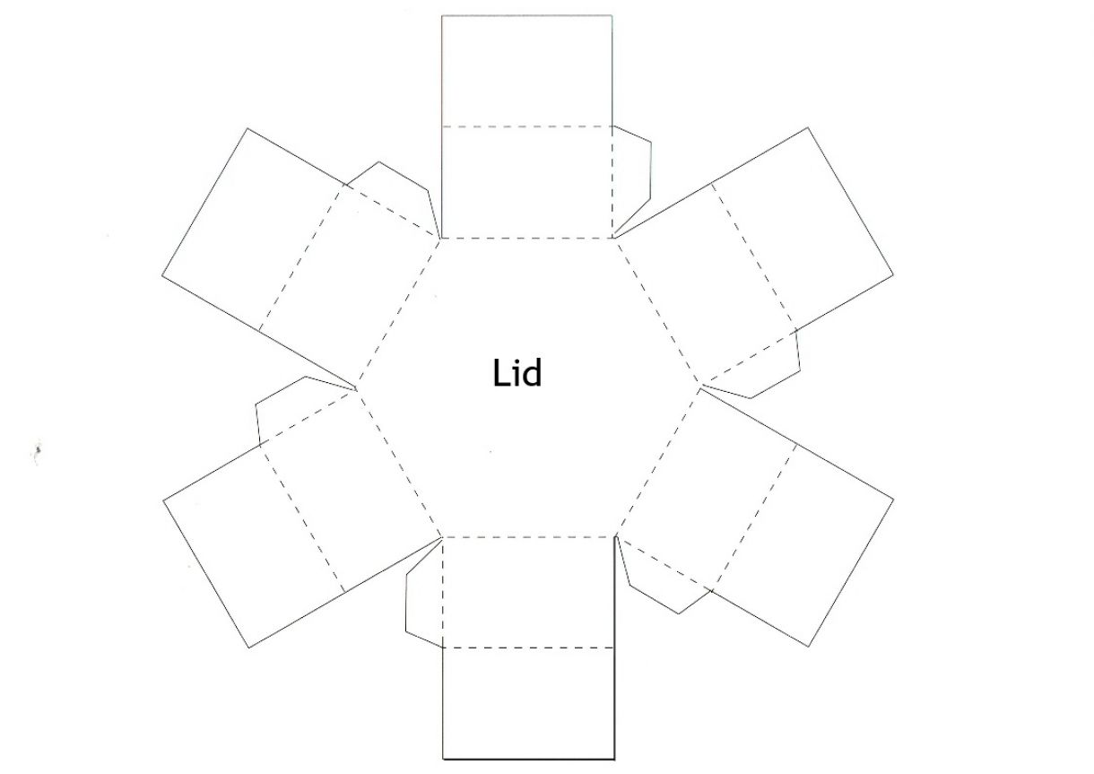 Hexagonal Stacked Gift Box Lid Template