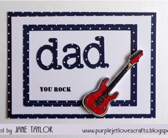 Father's Day Card navy Blue Polka on white with red guitar
