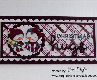 Maroon Christmas Slimline Card