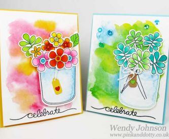 Spring Blooms - Watercolours on White Hammered Card