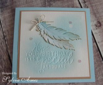 How To Make A Blue Feather Birthday Card