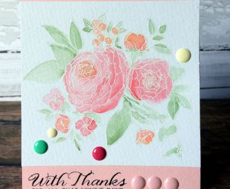 White Embossing Powder and Watercolour Markers - Pretty Thank You Note Cards