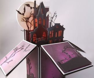 Spooky House Halloween Pop Up Box Card