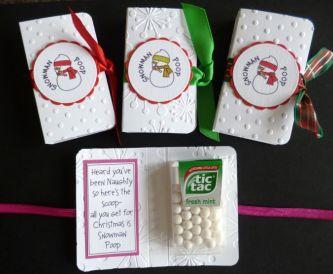 Fun Snowman Poop Tic Tac Gift Card - Handmade Stocking Filler!