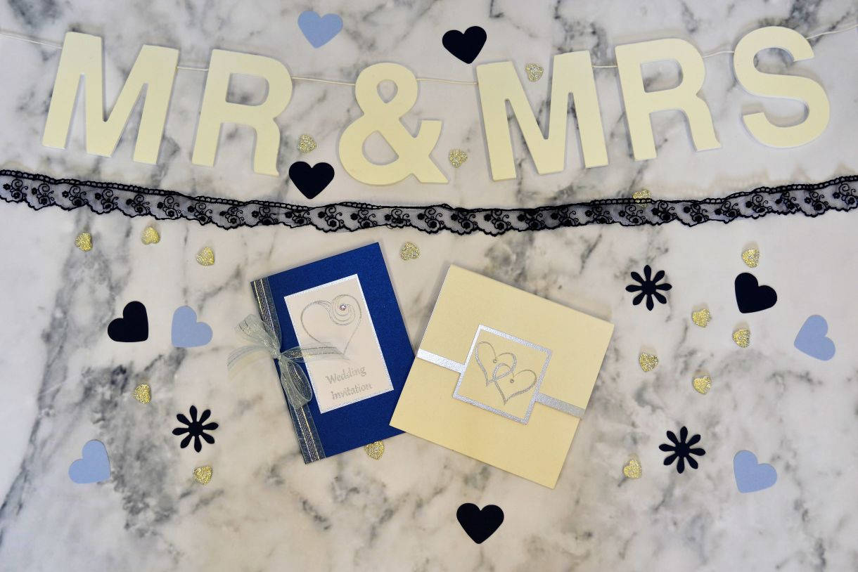 Papermilldirect Wedding Stamps Flat Lay Blue