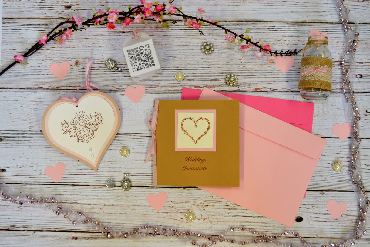 Papermilldirect Wedding Stamps Flat Lay Pink 1