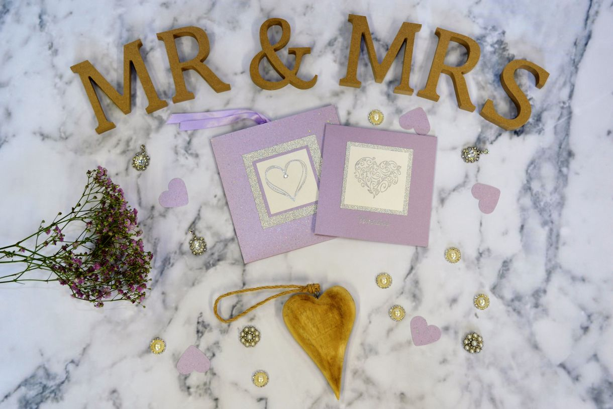 Papermilldirect Wedding Stamps Flat Lay Purple 1