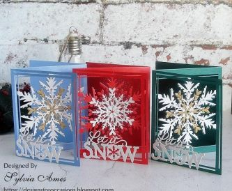 Pearlescent Tri-Fold Snowflake Cards