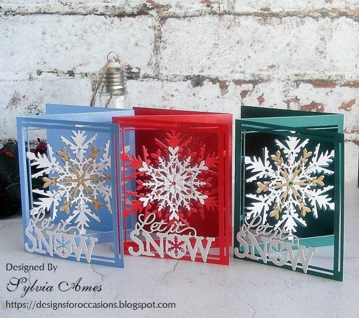 Pearlescent Tri Fold Snowflake Card 1