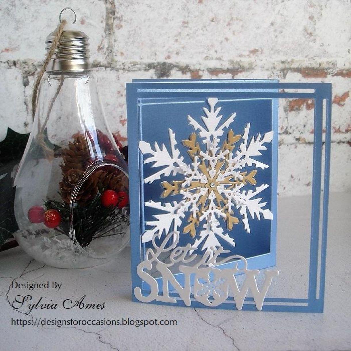 Pearlescent Tri Fold Snowflake Card