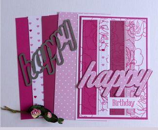 Pink Strips Happy Birthday