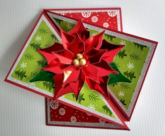 Poinsettia Twist Fold Christmas Card