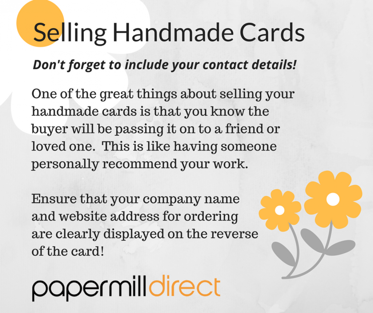 Selling  Handmade  Cards Adding Contact Details