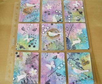 Pastel ATCs Using Textured Card