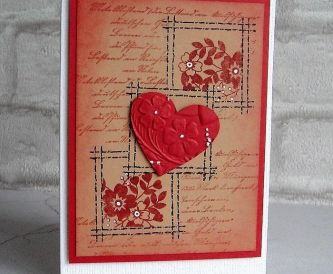 Stamped Valentine Card With Embossed Heart