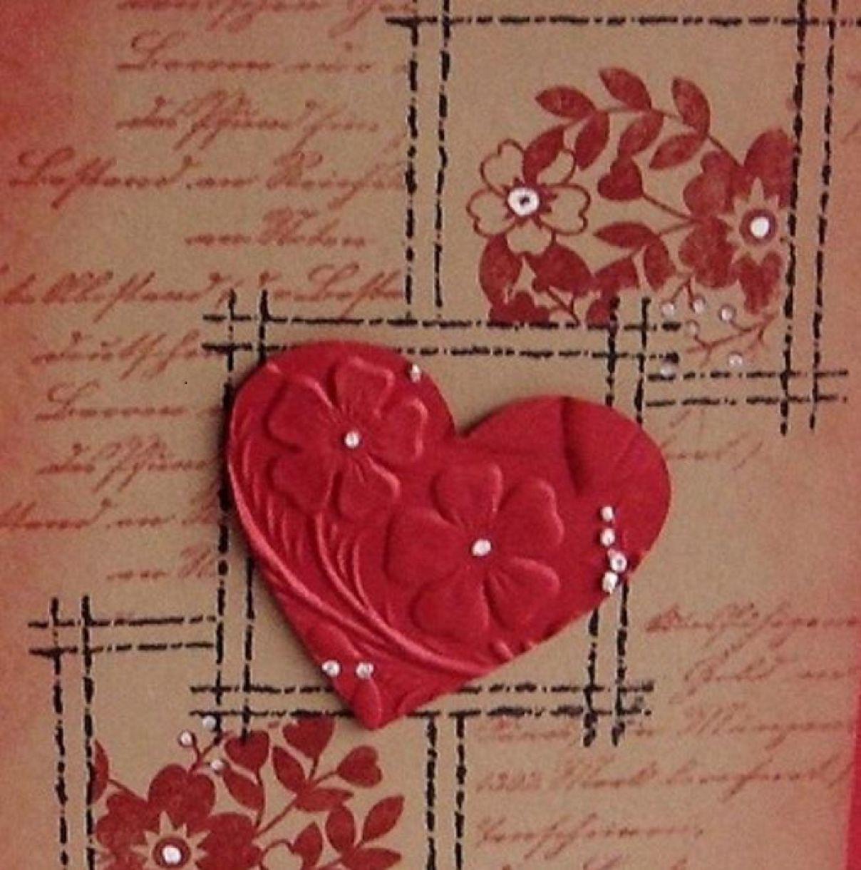 Stamped Valentine With Embossed Heart