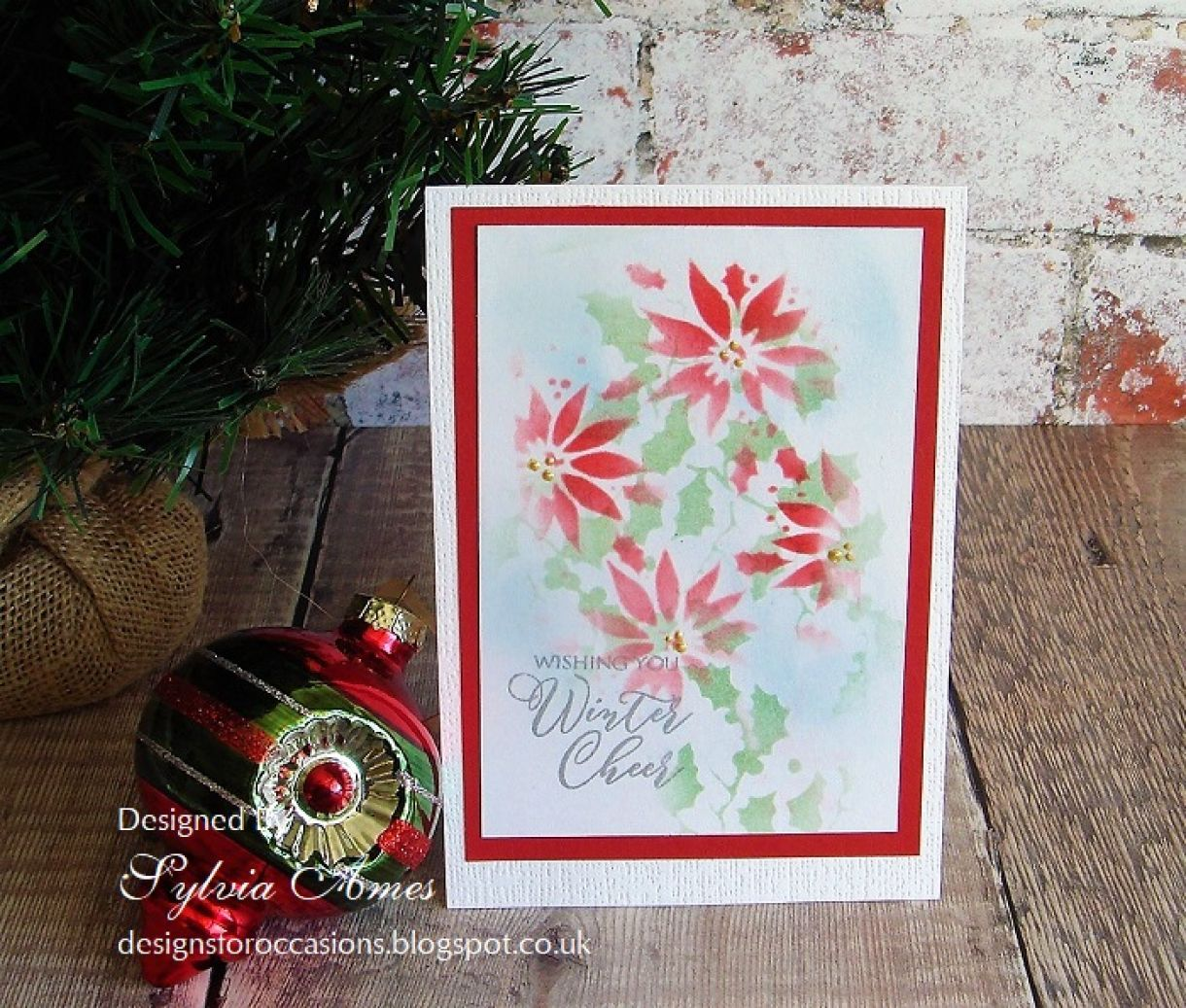 Water Colour Effect Pointsettias Quick Card 6