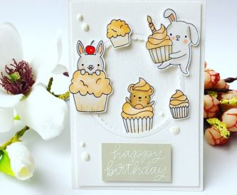 Critters And Cupcake Birthday Card