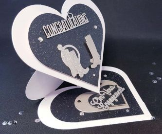 Heart Easel Card - Congratulations on Your Engagement using Black Mercury Sparkle silver no shed glitter