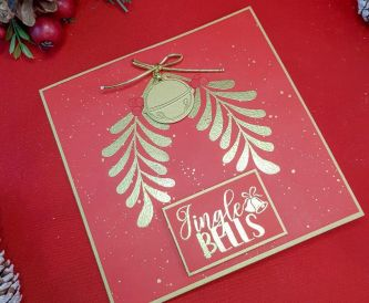 Jingle Bells Red and Gold Christmas Card