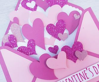 Happy Valentine's Day - Love-Heart Filled Envelope Box-Card