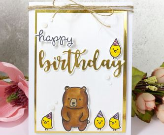 Gold and White Birthday Card