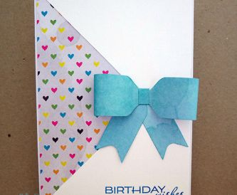 Bow Birthday Card with Patterned Paper