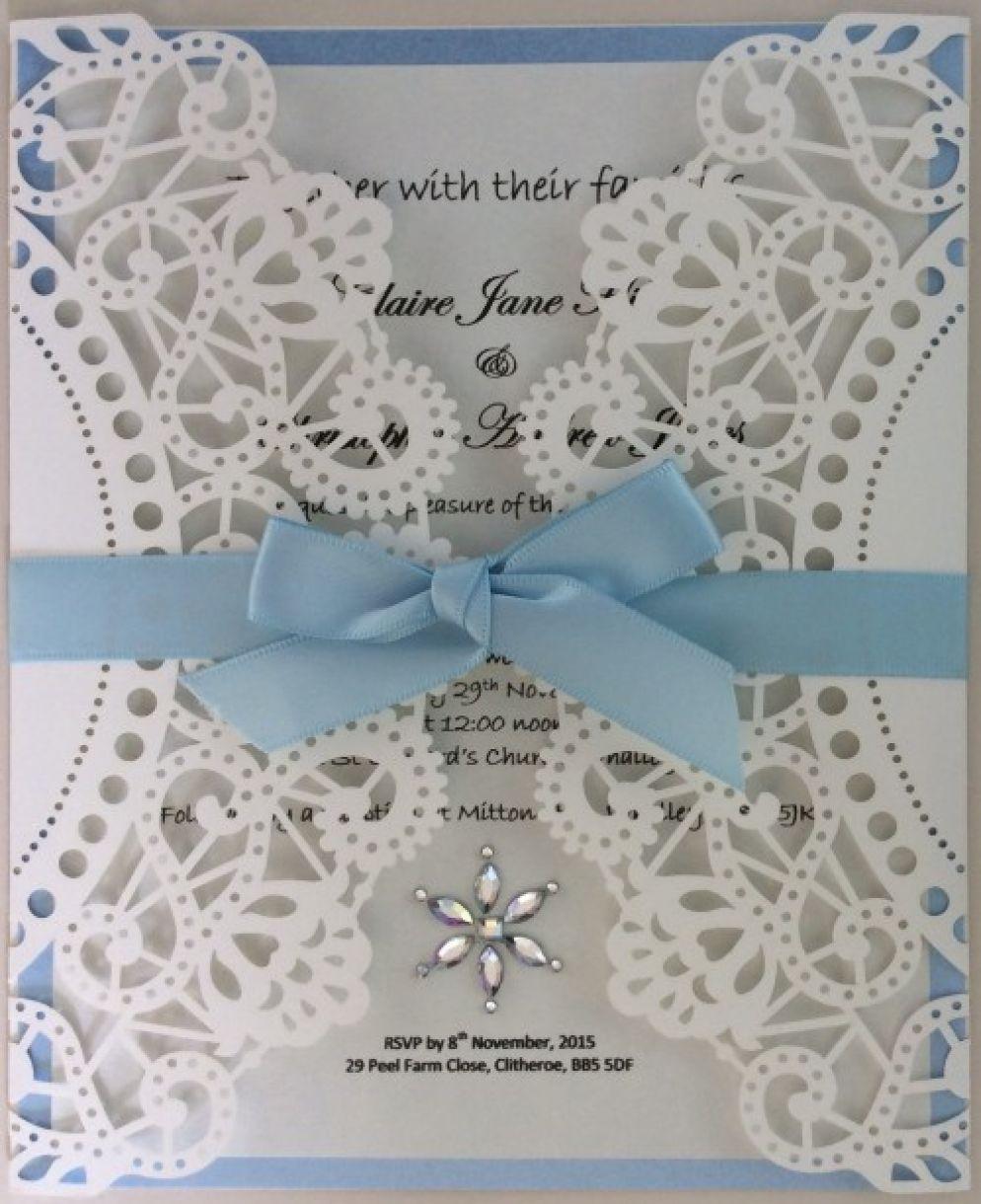 Doily Style Gate Fold Laser Cut Wedding Invitation