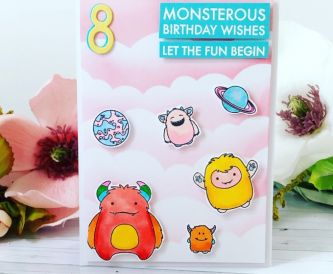 A Super Fun Girly Monster Birthday Card