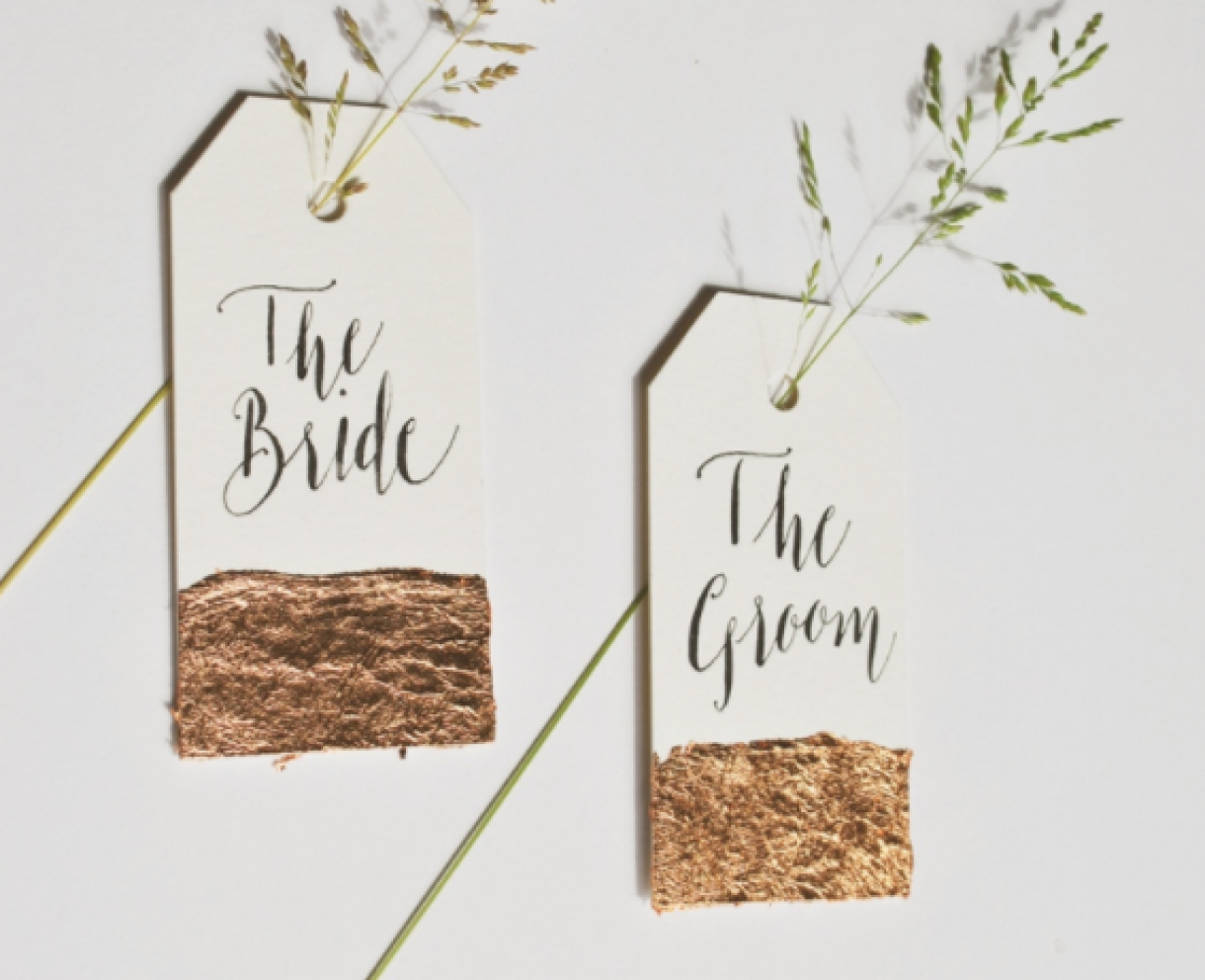Gold Leaf Place Cards For Wedding