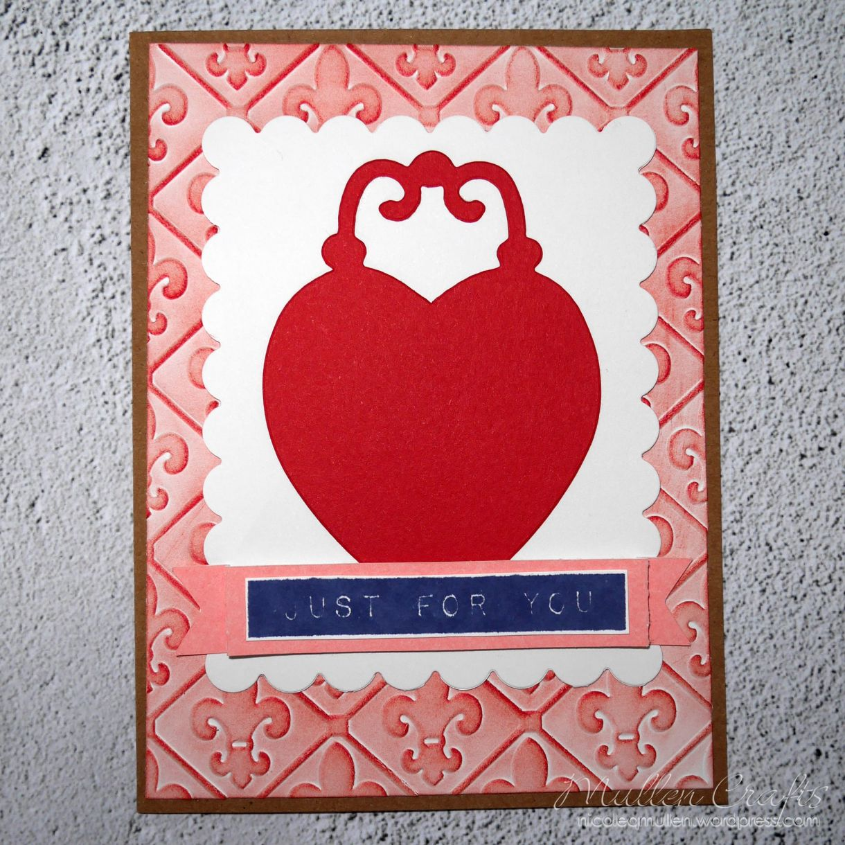 Love Heart Embossed Card Nm 5