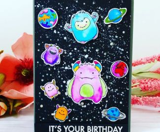 Space Monsters Birthday Card