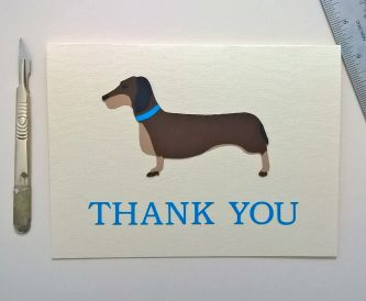 A simple dachshund thank you card