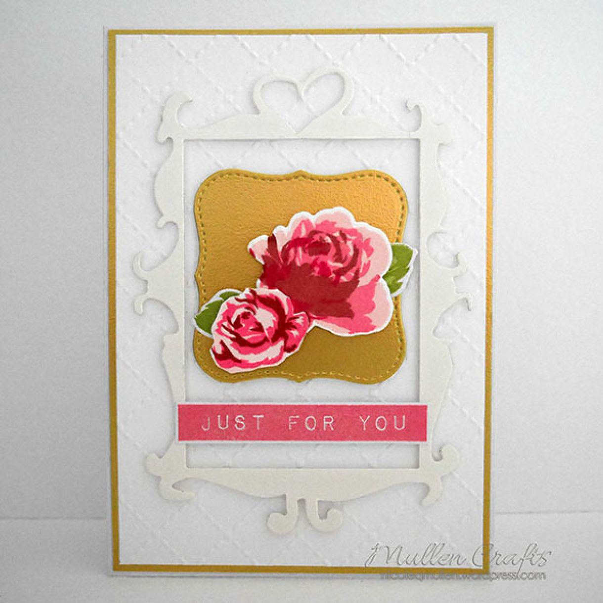 Mothers Day Card White Gold Floral 1