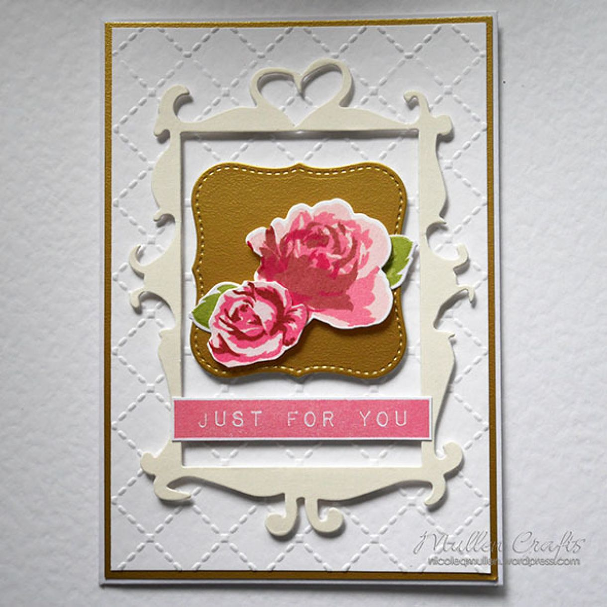 Mothers Day Card White Gold Floral 2