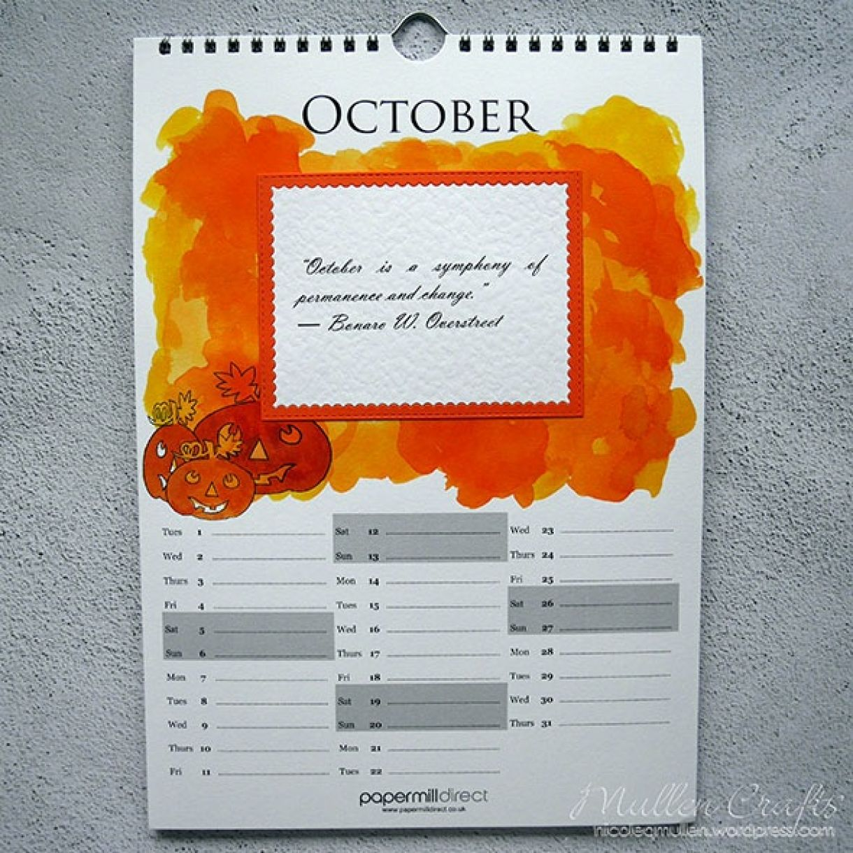 Nicole Calendar Page October 1