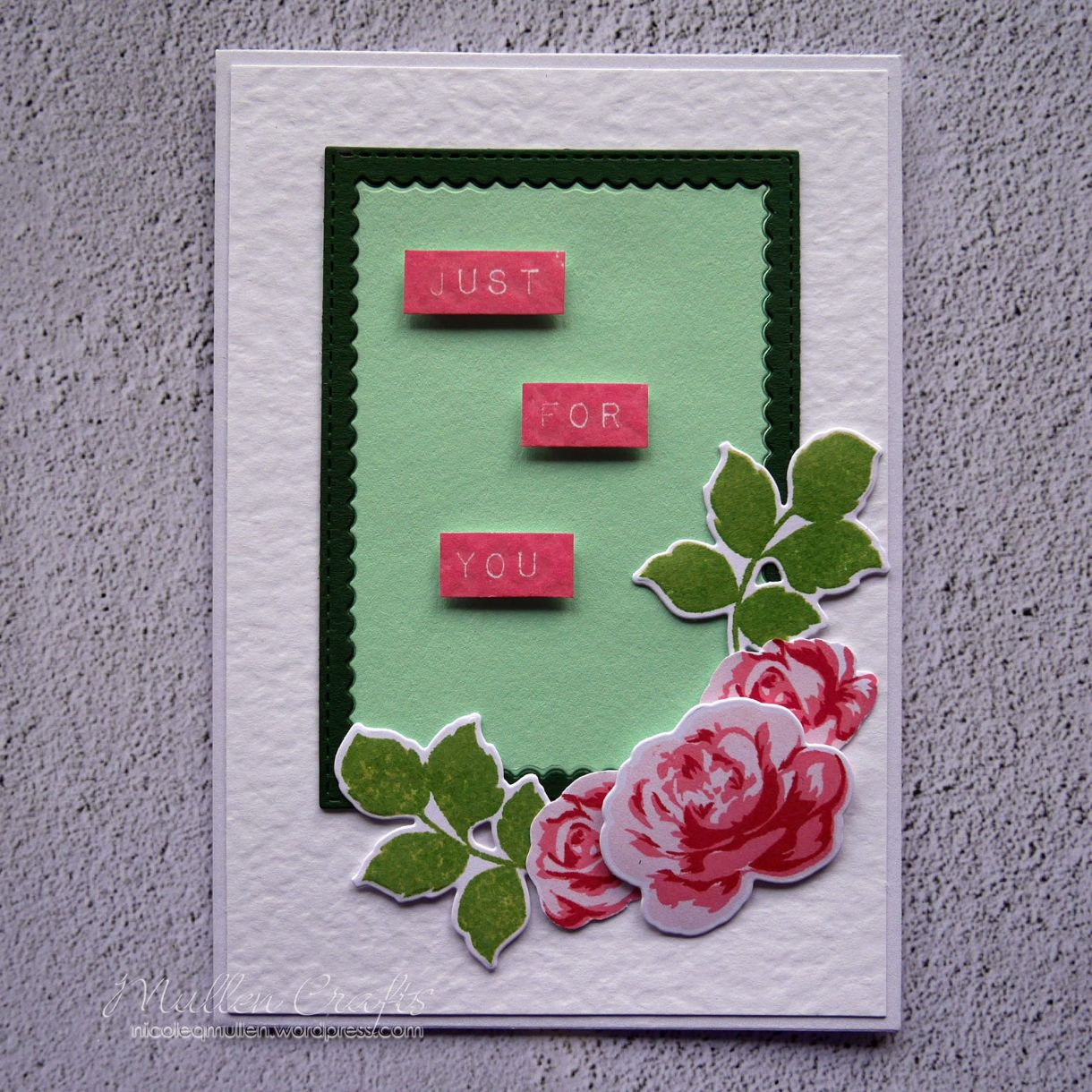 Nicole Green And Pink Floral Mothers Day Card 1