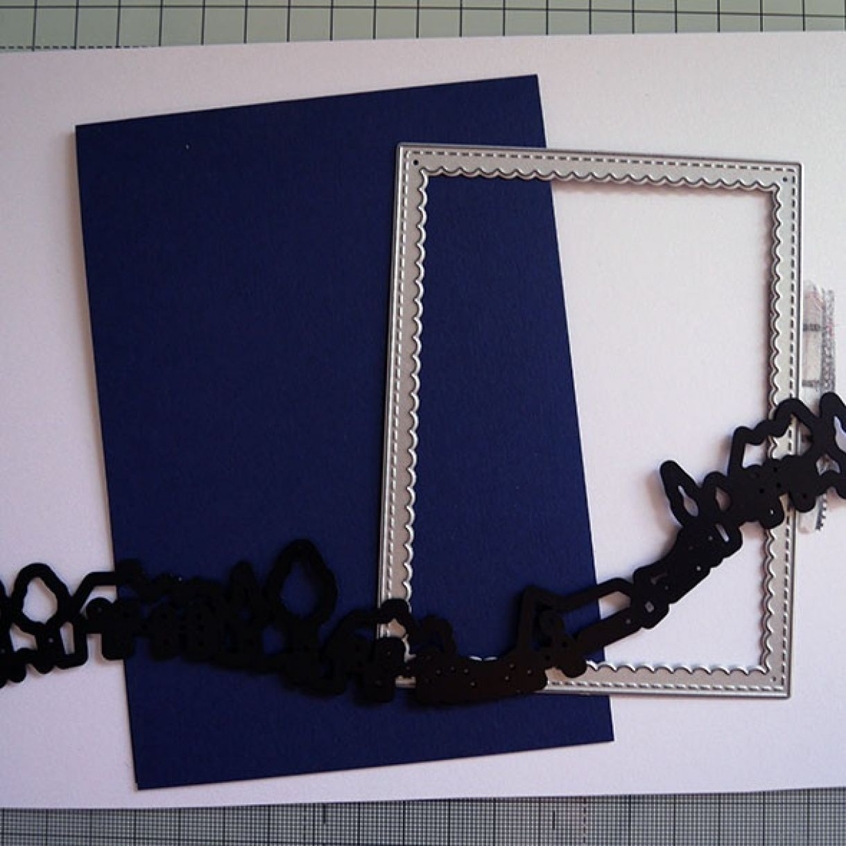 Nicole Navy White Shimmer House Card 1