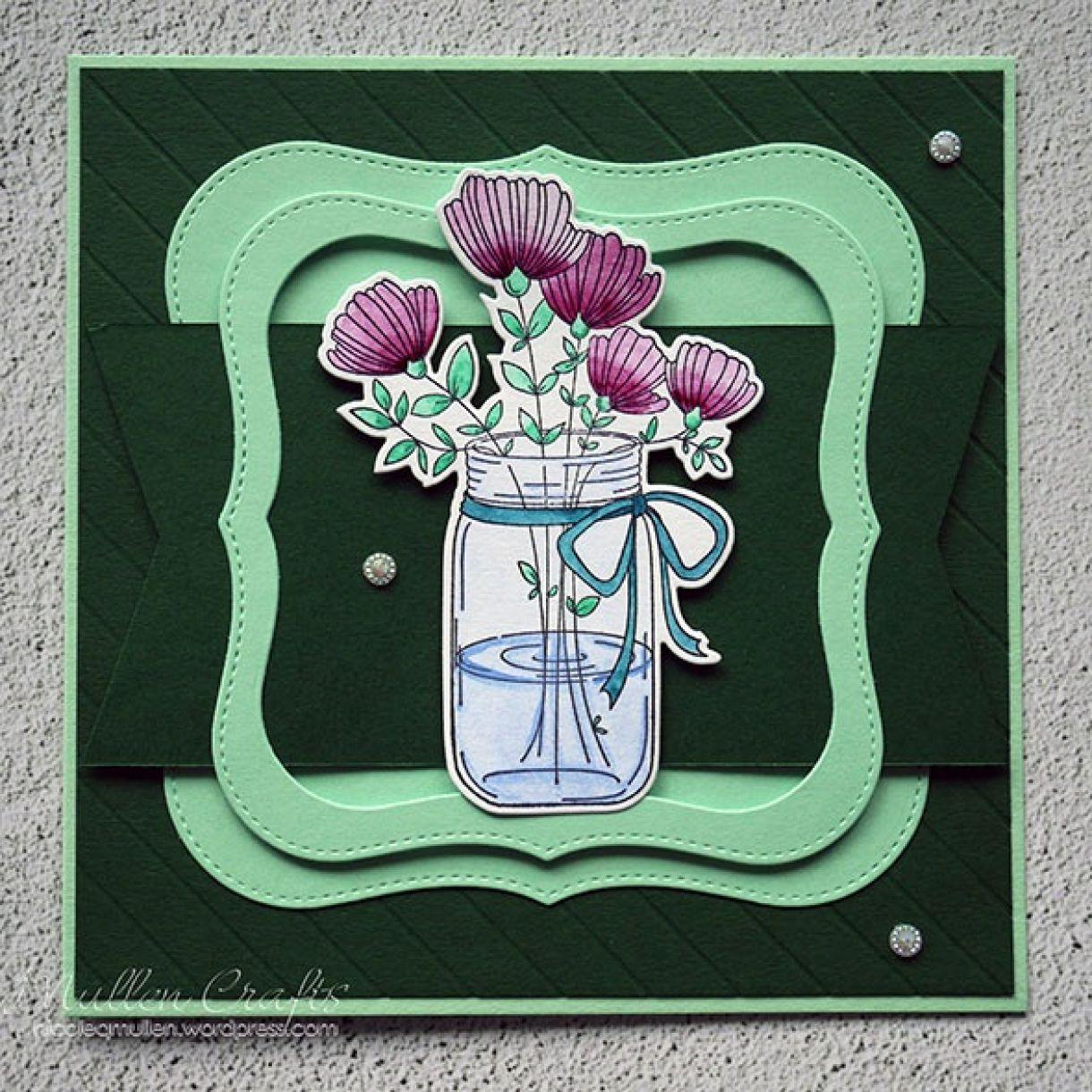 Nicole Watercolour Flower Green Card 1