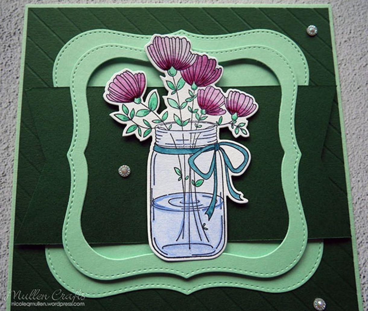Nicole Watercolour Flower Green Card 2