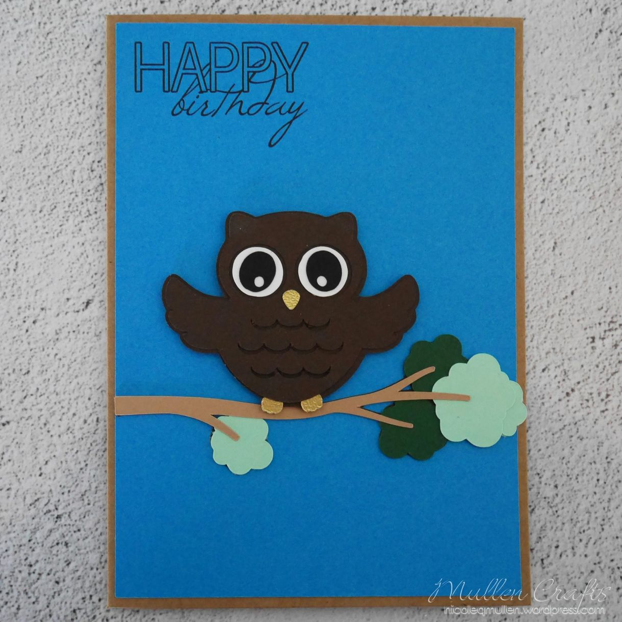 Owl Bday Card On Branch 1