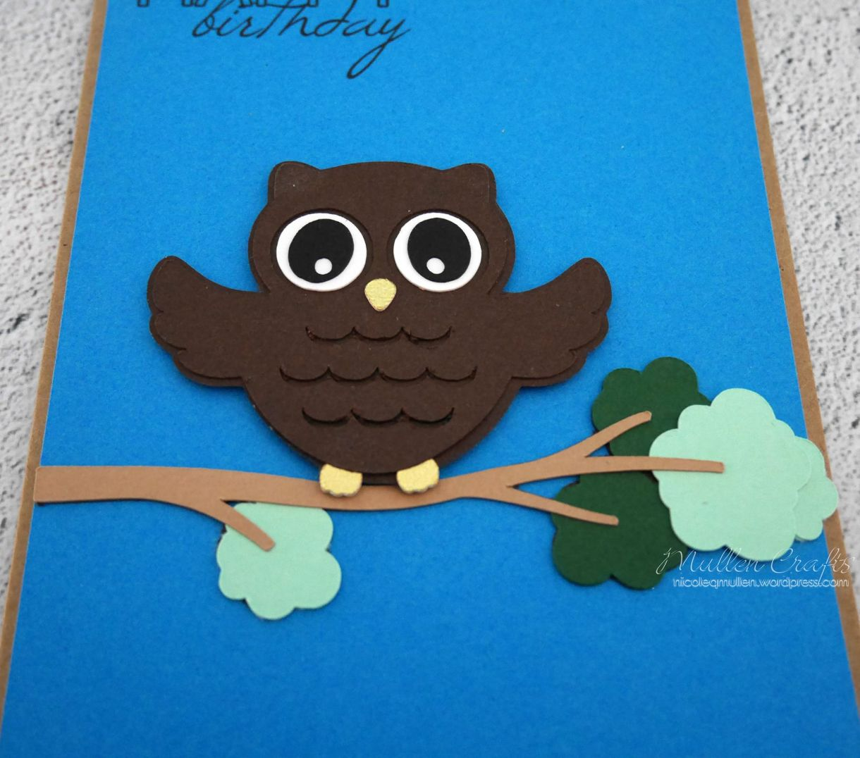 Owl Bday Card On Branch 2