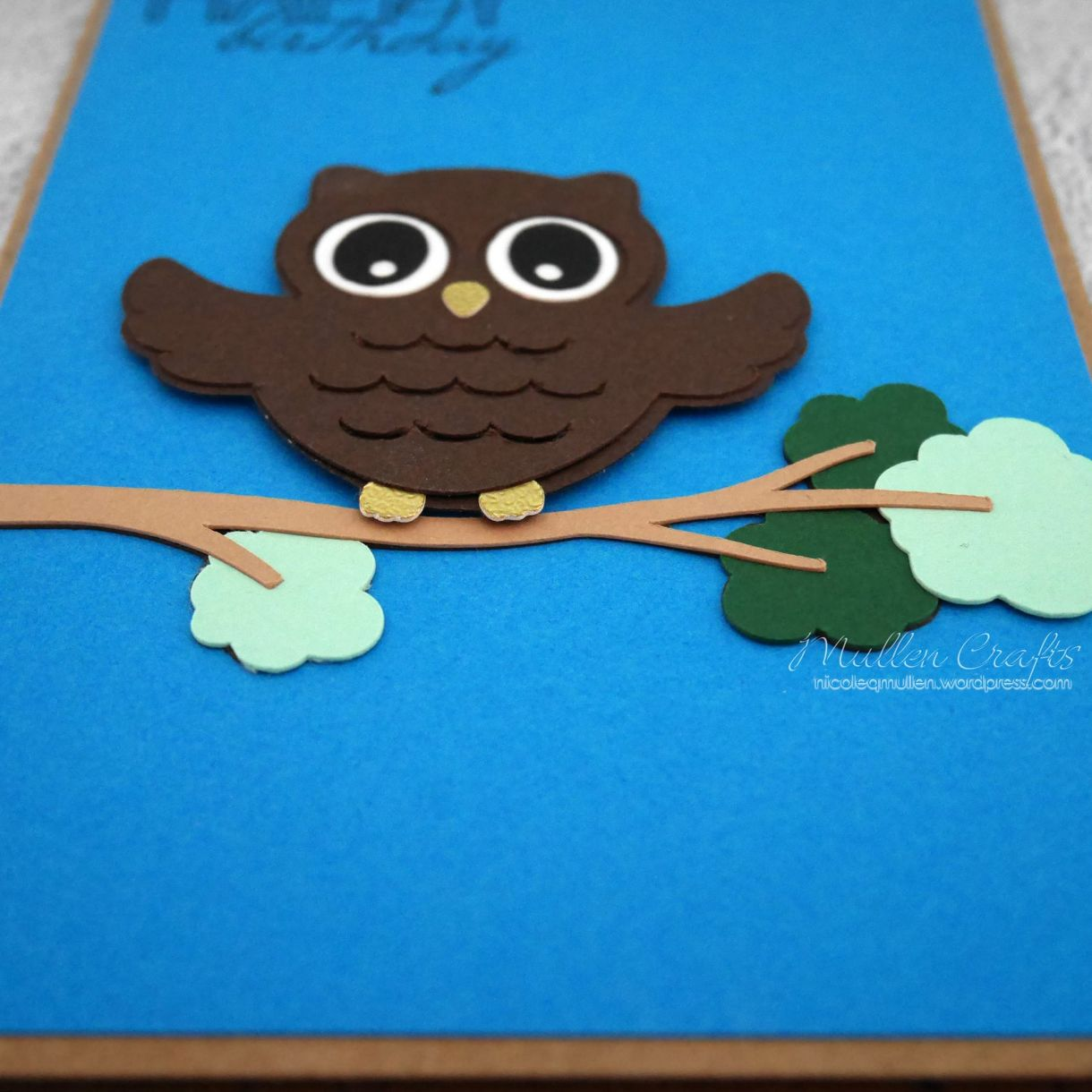 Owl Bday Card On Branch 3