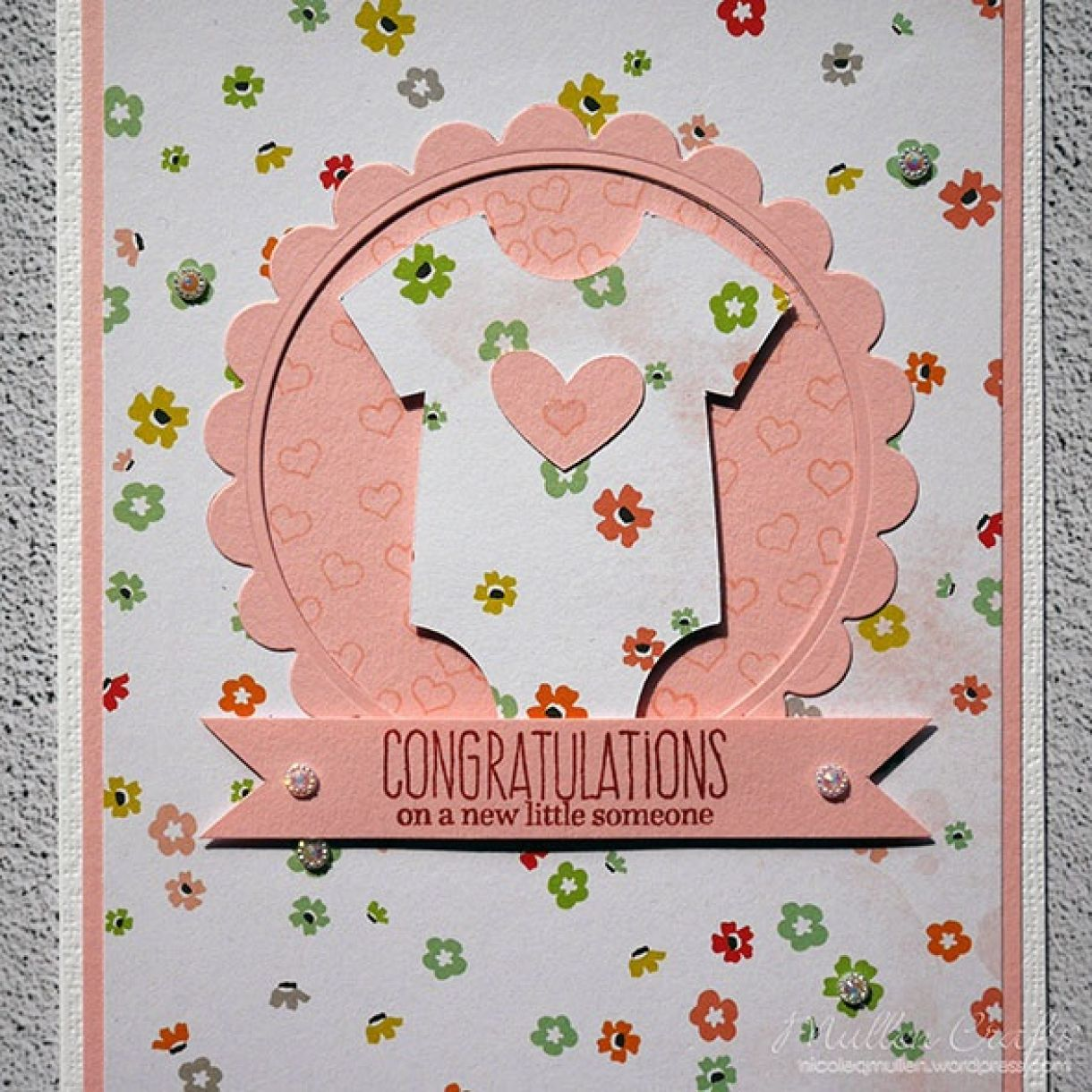 Pink Floral Baby Grow Card 2