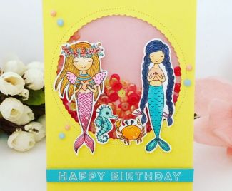 Mermaid Happy Birthday Shaker Card