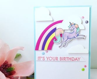 A Rainbow Unicorn Birthday Card
